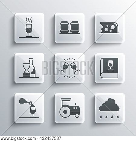 Set Tractor, Cloud With Rain, Book About Wine, Wine Tasting, Degustation, Bottle Of, And Cheese Icon