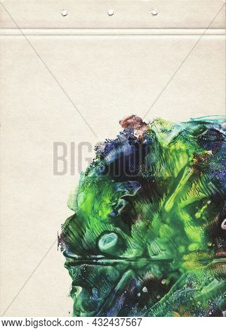A Sheet Of Notebook Stained With Blue And Green Watercolor Paint. Fine Grunge Artistic Color Backgro