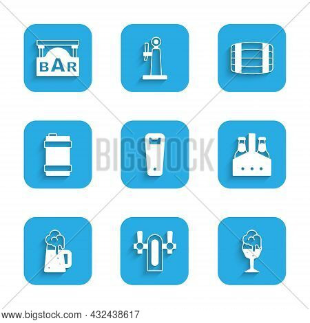 Set Bottle Opener, Beer Tap, Glass Of Beer, Pack Bottles, Wooden Mug, Metal Keg, Barrel And Street S