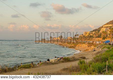 Haifa, Israel - September 07, 2021: Sunset View Of The Carmel Coast, The Mediterranean Sea, The Prom
