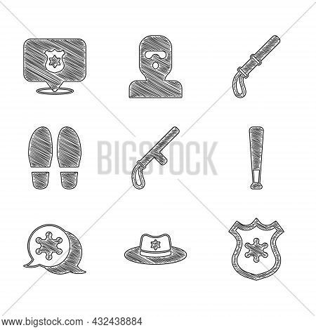 Set Police Rubber Baton, Sheriff Hat With Badge, Baseball, Hexagram Sheriff, Footsteps, And Icon. Ve