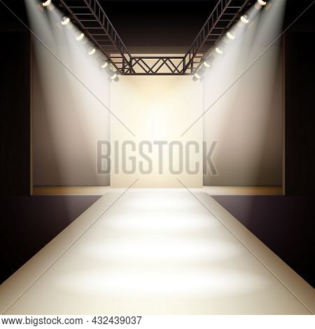 Empty Fashion Runway Podium Stage Interior Realistic Background Vector Illustration