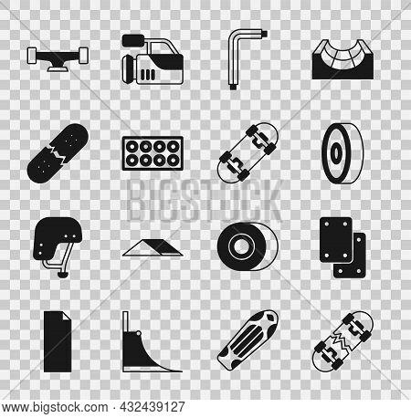 Set Broken Skateboard, Knee Pads, Skateboard Ball Bearing, Tool Allen Keys, Wheel, Deck, And Icon. V