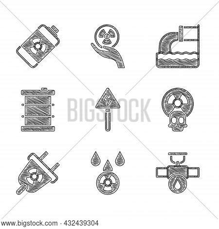 Set High Voltage Sign, Acid Rain And Radioactive Cloud, Industry Pipe Valve, Radioactive, Radiation