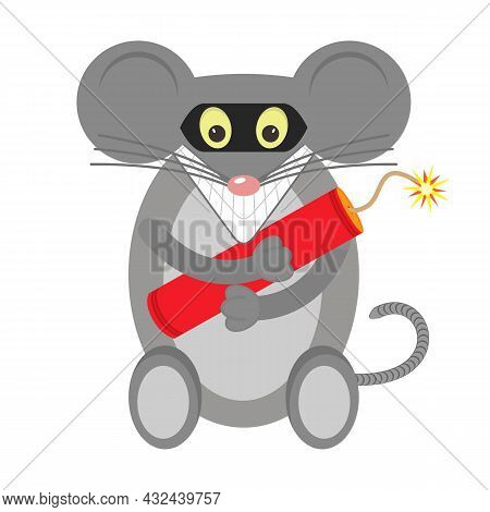 The Gray Mouse Is A Terrorist, Bandit And Robber In A Black Mask With Dynamite In His Paws. Vector I