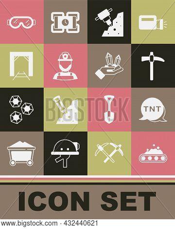 Set Conveyor Belt Carrying Coal, Dynamite, Pickaxe, Construction Jackhammer, Miner Helmet, Entrance,
