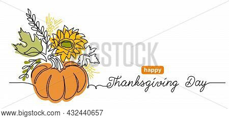 Thanksgiving Day One Line Art Background With Pumpkin Vegetable Composition. Simple Vector Greating