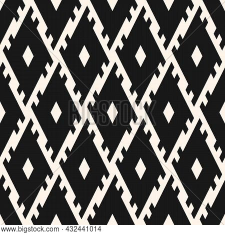 Geo Tribal Pattern. Seamless Ethnic Illustration With Black And White Lines And Shapes. Vector Ornam