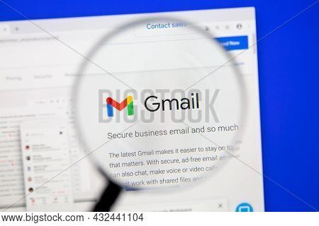 Östersund, Sweden - Okt 25, 2020 : Google Gmail webpage under magnifying glass. Gmail is a free email service developed by Google.