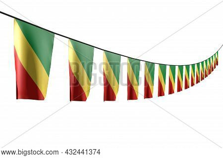 Cute Any Occasion Flag 3d Illustration  - Many Congo Flags Or Banners Hanging Diagonal With Perspect