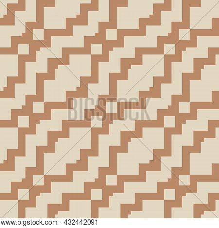 Vintage Geometric Ethnic Pattern. Illustration With Brown, Beige Zigzag Shapes. Vector Seamless Back