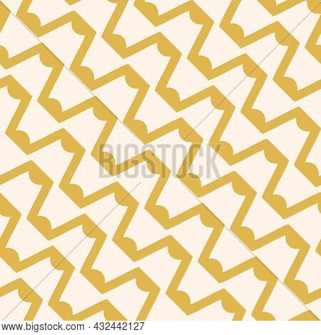Simple Abstract Grid Pattern. Vector Seamless Illustration With Diagonal Wavy Lines And Zigzag Shape