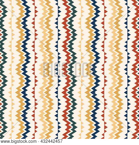 Vector Ethnic Pattern. Seamless Illustration With Zigzag And Colorful Striped. The Background Is Use