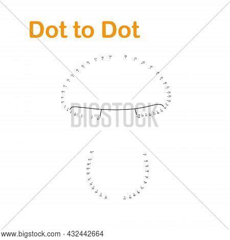 Autumn Mushroom Dot To Dot Worksheet Fun Educational Game Or Leisure Activity, Vector Illustration