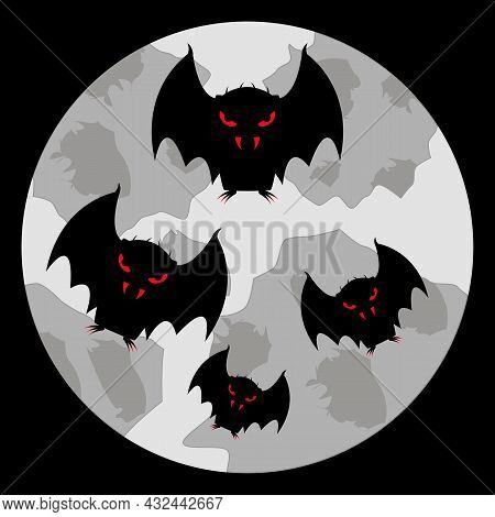 A Flock Of Vampire Bats With Bloody Eyes, Fangs And Claws Fly In The Sky Against The Backdrop Of A P