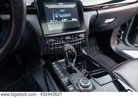 Ukraine, Odessa September 8 - 2021: Interior Of Modern Luxury Car Maserati Ghibli. Car Interior With