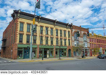 Potsdam, Ny, Usa - Apr. 28, 2017: Clarkson University Bookstore At 39 Market Street At Elm Street In