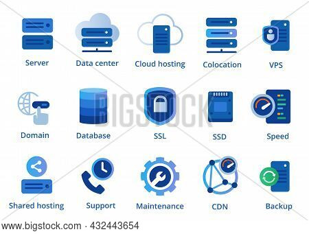 Web Hosting Service Icon Set From Colocation Server Vpn Shared To Cdn And Ssl