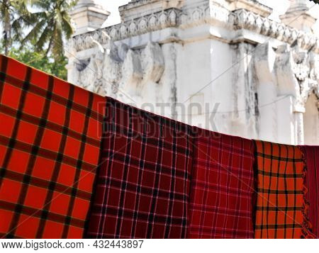 Close Up Of Hand Woven Red Checked Cloths Of Shan Ethnic Group, Myanmar