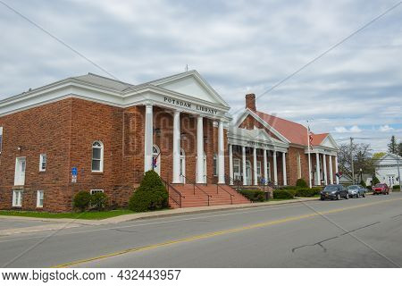 Potsdam, Ny, Usa - Apr. 28, 2017: Potsdam Town Public Library, Municipal Offices And Public Museum A