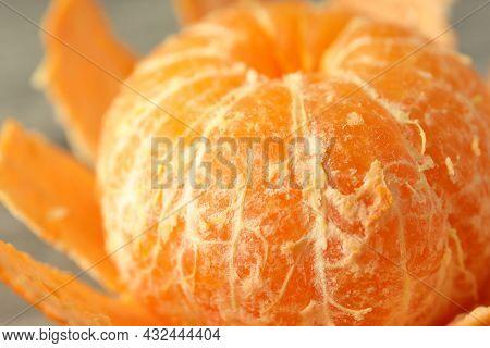 Tasty Peeled Mandarin, Close Up And Selective Focus