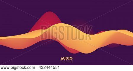 Sound Wave Visualiztion. 3d Orange Solid Waveform. Voice Sample Pattern.