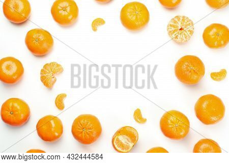 Mandarins On White Background, Space For Text