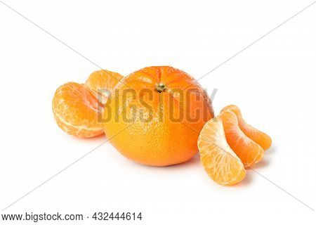Mandarin And Pieces Isolated On White Background