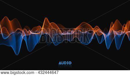 3d Audio Soundwave. Colorful Music Pulse Oscillation. Glowing Impulse Pattern
