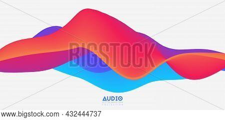 Sound Wave Visualiztion. 3d Colorful Solid Waveform. Voice Sample Pattern.