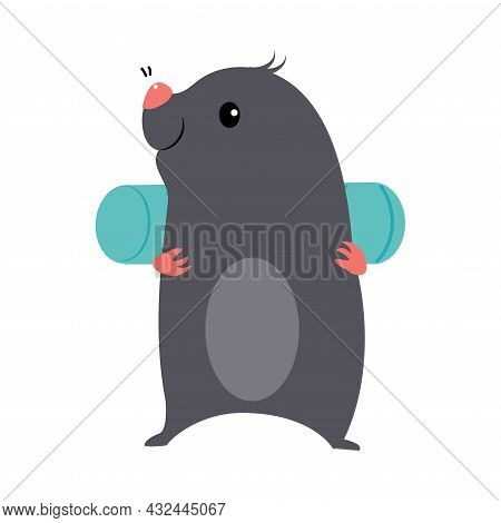 Cute Grey Mole As Forest Animal Walking With Backpack Vector Illustration