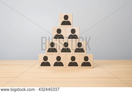 Personnel Pyramid, Human Resources And Ceo. Business Concept Image Of Wooden Piramid With People Ico