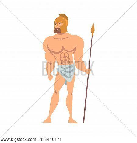 Gladiator In Helmet Holding Spear As Greek Or Hellene Character Vector Illustration