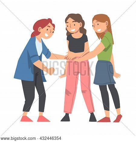 Happy Woman Character With Their Hands In Stack Putting Them Together Showing Unity And Solidarity V