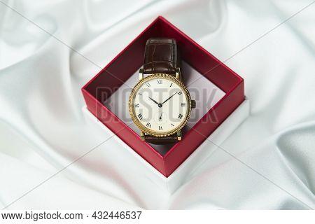 Men's Wrist Watch On White Background, Close-up