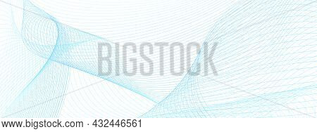 Light Blue Thin Curves. Technology Line Art Pattern. Futuristic Abstract Background. Vector Guilloch