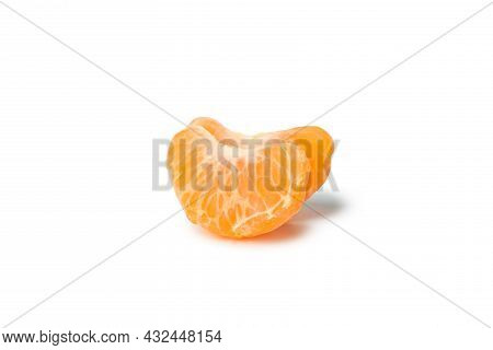 Mandarin Pieces Isolated On White Background, Close Up
