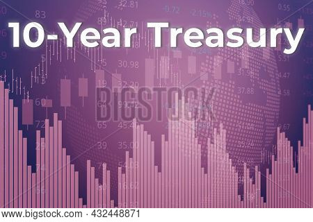 Price Change When Trading Bonds 10-year Treasury On Magenta Finance Background From Graphs, Charts,