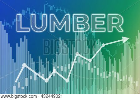 Price Change On Trading Lumber Futures On Blue And Green Finance Background From Graphs, Charts, Col