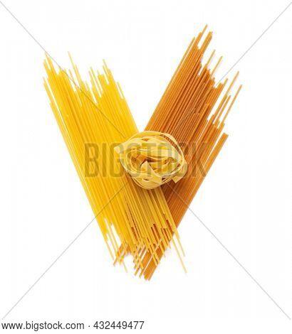 Fettuccine raw pasta italian food isolated on white background. Spaghetti pasta and tagliatelle at white