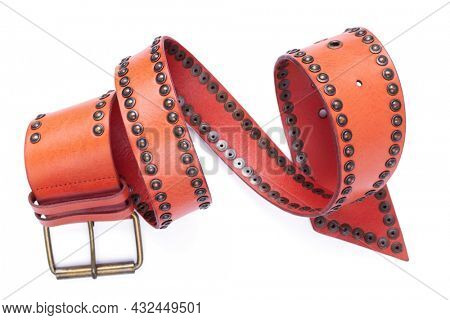 Leather belt isolated on white background. Old shabby belt with buckle