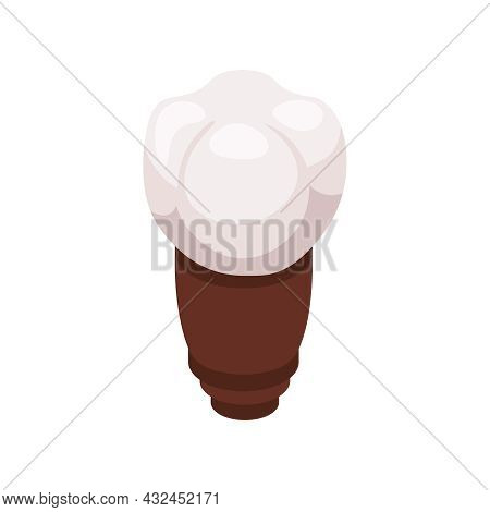 Isometric Tooth Implant Metal Dental Post On White Background 3d Vector Illustration