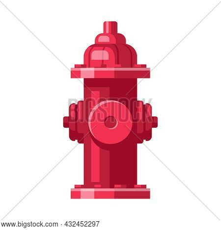 Red Fire Hydrant On White Background Cartoon Vector Illustration