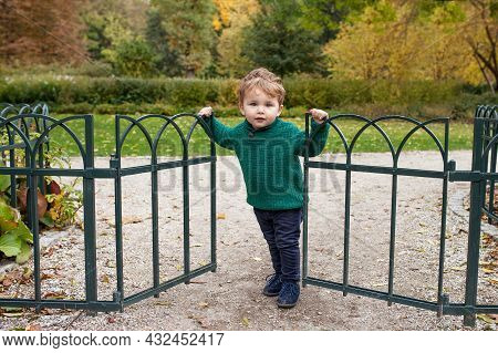 Little Smiling Boy In Autumn Park.  Lovely Kid Smiles And Has Joy. Little Boy Opening Gate In The Pa