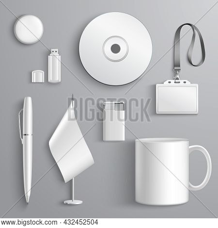 White Realistic Corporate Identity Set Of Stationary Elements Isolated Vector Illustration