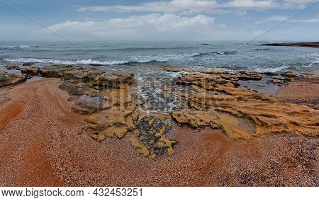 Russia. The Republic Of Dagestan. Panorama Of The Picturesque Coast Of The Caspian Sea On The Embank