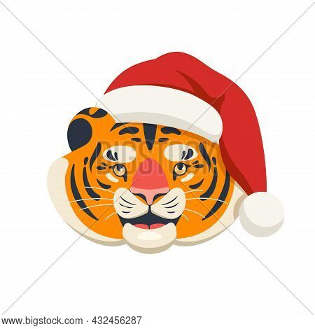 Head Of A Cute Cartoon Tiger In A Red Santa Claus Hat. 2022 The Year Of The Tiger. Vector Illustrati