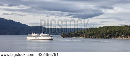 Victoria, Vancouver Island, British Columbia, Canada - August 16, 2021: Bc Ferries Boat Leaving The