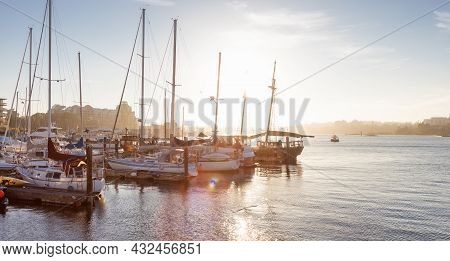 Downtown Victoria, Vancouver Island, British Columbia, Canada - August 18, 2021: Sailboats Parked At