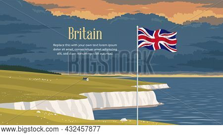 Detailed Flat Vector Illustration Of A Flying Flag Of The United Kingdom In Front Of A Scenic Nation